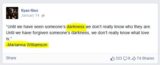R. Ries posting quote of New Ager Marianne Williamson; 1.14.15